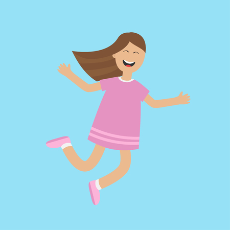 glee: Girl jumping isolated. Happy child jump. Cute cartoon laughing character in violet dress. Smiling woman. Blue background. Flat design Vector illustration