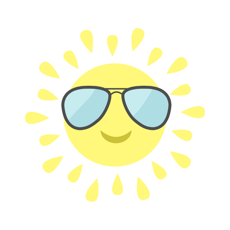 sunglassess: Sun shining icon. Sun face with pilot sunglassess. Cute cartoon funny smiling character. Hello summer. White background. Isolated. Flat design Vector illustration