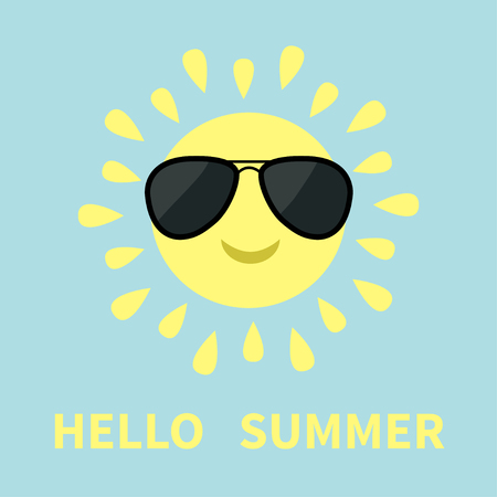sunglassess: Sun shining icon. Sun face with sunglassess. Cute cartoon funny smiling character. Hello summer. White background. Isolated. Flat design Vector illustration