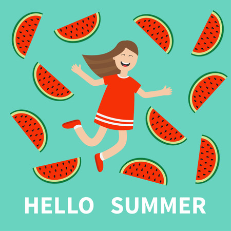 watermelon woman: Girl jumping Hello summer greeting card. Happy child jump. Cute cartoon laughing character in red dress Watermelon slice background. Smiling woman.  Flat design Vector illustration