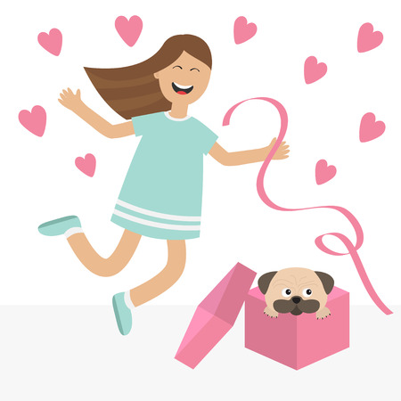 jump for joy: Girl jumping for joy. Gift box with puppy pug dog Happy child jump. Cute cartoon laughing character in blue dress holding ribbon.  Open giftbox. Smiling woman.  Isolated White background Flat Vector
