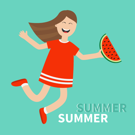 woman holding card: Girl jumping Happy child jump. Hello summer greeting card. Cute cartoon laughing character in red dress holding watermelon slice. Smiling woman. Blue background. Flat design Vector illustration Illustration