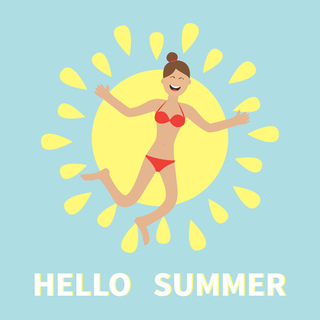 gleeful: Hello summer. Woman wearing swimsuit jumping.  Sun shining icon. Happy girl jump. Cartoon laughing character in red swimming suit. Smiling woman in bikini bathing suit. Blue background. Flat Vector Illustration