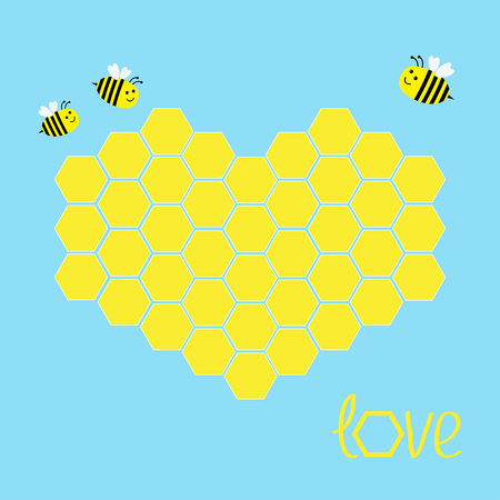 yellow card: Yellow honeycomb set in shape of heart. Bee insect. Beehive element. Honey icon. Love greeting card. Isolated. Blue background. Flat design. Vector illustration