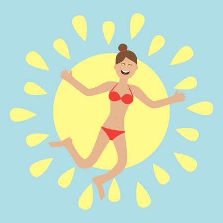 young girl bikini: Young woman wearing swimsuit jumping.  Sun shining icon. Summer time Happy girl jump Cartoon laughing character in red swimming suit. Smiling woman in bikini bathing suit Blue background Flat Vector Illustration