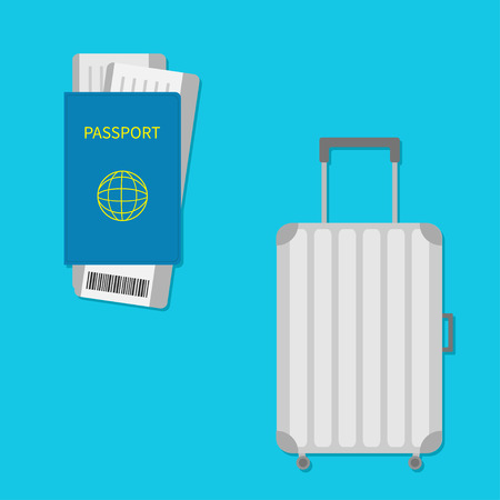 consept: Passport, air boarding pass ticket with barcode. Suitcase icon. Travel baggage.  Luggage handbag. Summer vacation planning consept. Travelling tourism. Passenger case. Flat Isolated. Blue Vector Illustration