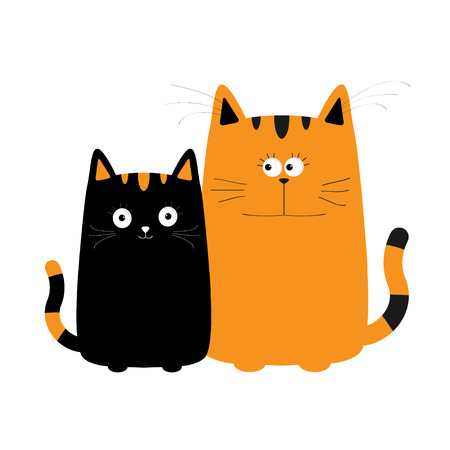 black family: Cute red orange cartoon cat boy and black kitty girl. Big mustache whisker. Funny character set. Happy family. Love greeting card. Flat design. White background. Isolated.  Vector illustration