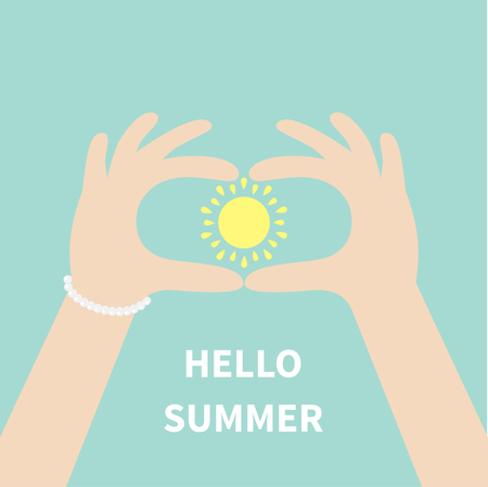 man holding card: Male Female arms and sun shining with rays of light. Man woman hands holding sun icon.  Hello summer Greeting card. Blue background. Flat design style. Vector illustration