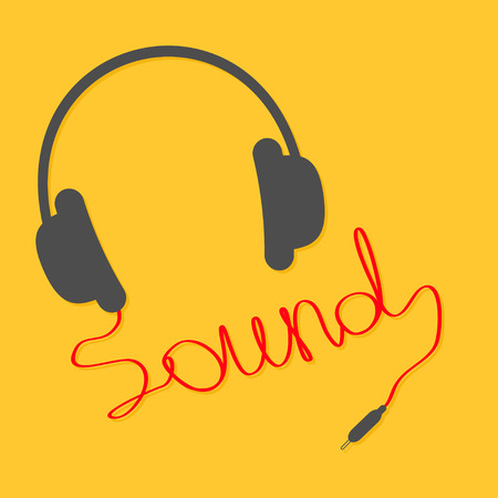 sound card: Black headphones with red cord in shape of word sound. Music card.  Flat design icon Yellow background. Vector illustration