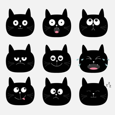 Leuke zwarte kattenkop set. Grappige cartoon karakters. Emotie collectie. Gelukkig, verbaasd, huilend, verdrietig, boos kat. Witte achtergrond. Geïsoleerd. Vlakke ontwerp Vector illustratie