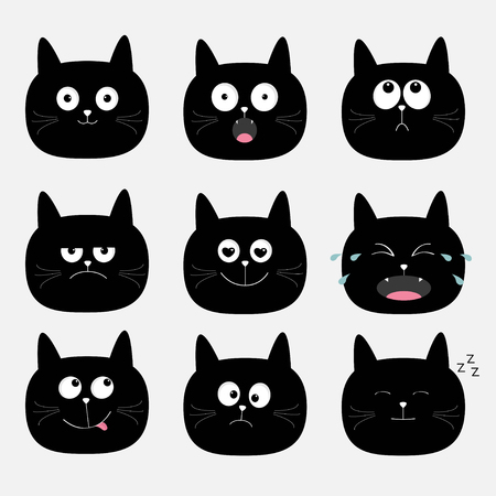 Nette schwarze Katze Kopf gesetzt. Lustige Comic-Figuren. Kollektion Emotion. Glücklich, überrascht, weinen, traurig, wütend Katze. Weißer Hintergrund. Isoliert. Flaches Design Vektor-Illustration