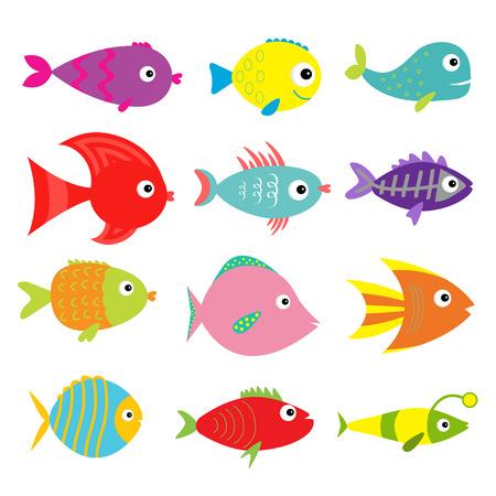 Leuke cartoon vis in te stellen. Geïsoleerd. Baby Kids collectie. Witte achtergrond. Plat ontwerp Vector illustratie