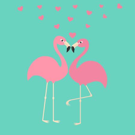 Twee roze flamingo paar in de liefde. Hearts. Exotische tropische vogel. Zoo dier collectie. Schattig stripfiguur. Decoratie element. Plat ontwerp. Blauwe achtergrond. Geïsoleerd. vector illustratie