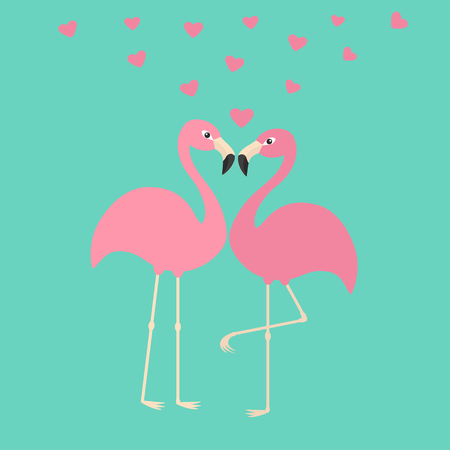 Two pink flamingo couple in love. Hearts. Exotic tropical bird. Zoo animal collection. Cute cartoon character. Decoration element. Flat design. Blue background. Isolated. Vector illustration