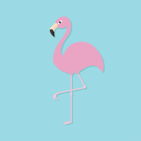 one animal: Pink flamingo on one leg. Exotic tropical bird. Zoo animal collection. Cute cartoon character. Decoration element. Flat design. Blue background. Isolated. Vector illustration Illustration