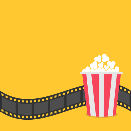 Popcorn. Film strip border. Red yellow box. Cinema movie night icon in flat design style. Yellow background. Vector illustration Stock Illustratie