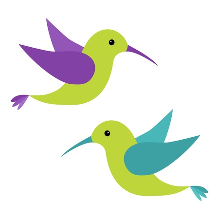 Colibri volant bird icon set. personnage de dessin animé mignon. Colibri. Vert, bleu, violet, couleur. fond blanc isolé. Design plat. Bébé enfants illustration collection. Vecteur