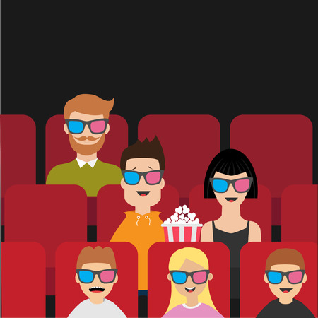 People sitting in movie theater eating popcorn. Love couple, kids, man, children. Film show Cinema background. Viewers watching movie in 3D glasses. Red seats hall. Flat design Vector illustration Stock Illustratie