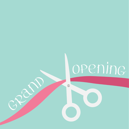 inaugural: Scissors cut the ribbon. Grand opening celebration. Business beginnings event. Launch startup. Blue background. Flat design style. Vector illustration. Illustration