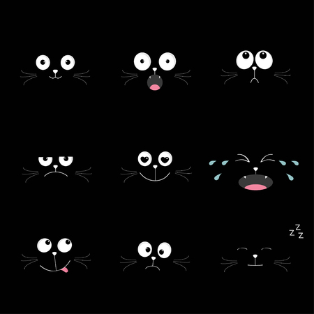 snoring: Cute black cat head set. Funny cartoon characters. Different emotions faces collection. Expression face icons. Crying, happy, smiling, snoring sad angry kitten. Cat feelings Flat  Vector illustration