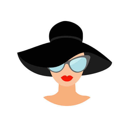 red dress: Woman in black hat and sun glasses Avatar people icon collection Cute cartoon character Beautiful face red lips Female head sunglasses Women wearing eyeglasses Flat White background. Isolated. Vector Illustration