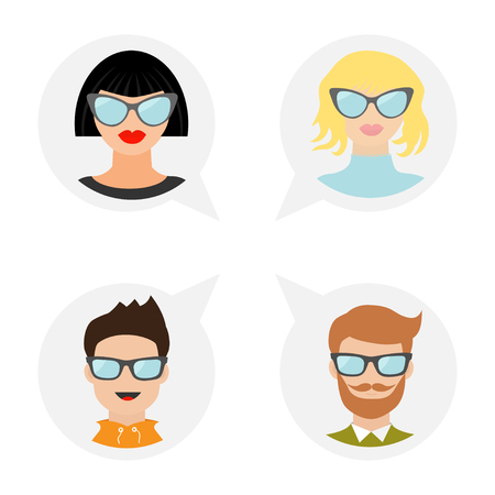 girl glasses: Avatar people icon set. Cute cartoon character. Diverse face collection. Men women wearing eyeglasses. Male female head with sunglasses Speech bubble Flat White background Isolated Vector illustration