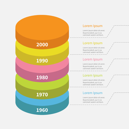 segment: Timeline vertical round colorful segment stack. Infographic with dash line and text. Template. Flat design. White background. Isolated. Vector illustration Illustration