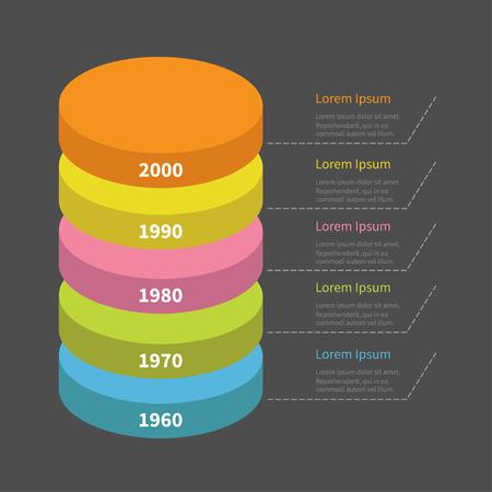 segmento: Infograf�a con l�nea de trazos y texto. redonda vertical de pila de coloridos segmento de l�nea de tiempo. Modelo. Dise�o plano. Fondo negro. Aislado. ilustraci�n vectorial Vectores
