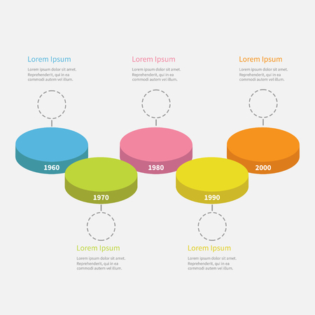 segment: Five step Timeline horizontal round colorful stage podium segment Infographic with empty dash line circles and text. Template. White background. Isolated. Flat design. Vector illustration