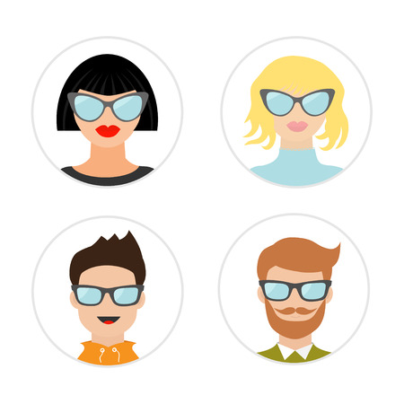 sunglasses cartoon: Avatar people icon set. Cute cartoon character. Diverse face collection. Male female head with sunglasses. Men women wearing eyeglasses. Round shape Flat White background. Isolate. Vector illustration