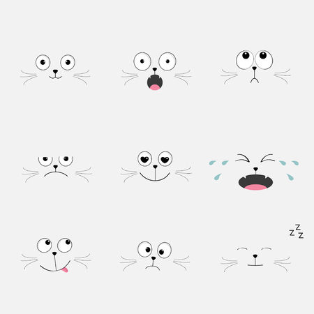 feelings and emotions: Cute black cat head set. Funny cartoon characters. Different emotions faces collection Expression face icons Crying, happy, sad, angry kitten. Cat feelings.  White background Flat Vector illustration