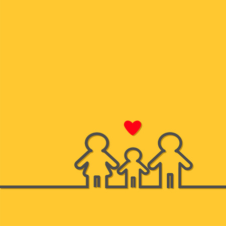 black baby boy: Man Woman Baby boy black contour line icon Male female gender symbol. Happy family concept. Isolated Yellow background Red heart Flat design Vector illustration