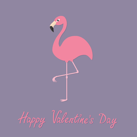 standing on one leg: Flamingo standing on one leg. Exotic tropical bird. Zoo animal collection. Cute cartoon character. Happy Valentines day. Love greeting card. Decoration Flat Violet background.Vector illustration