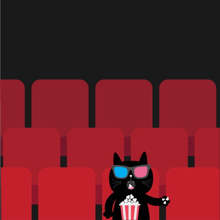Cat sitting in movie theater eating popcorn.  Cute cartoon character. Film show Cinema background. Kitten watching movie in 3D glasses. Red seats hall. Dark background. Flat design Vector illustration Illusztráció