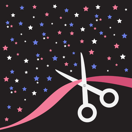 beginnings: Scissors cut the ribbon. Grand opening celebration. Business beginnings event. Launch startup concept. Back background with stars. Flat design style. Vector illustration. Illustration