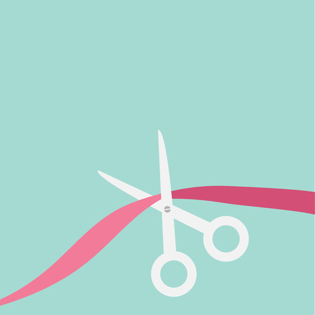 beginnings: Scissors cut the ribbon. Grand opening celebration. Launch startup.  Business beginnings event.  Flat design style. Vector illustration.