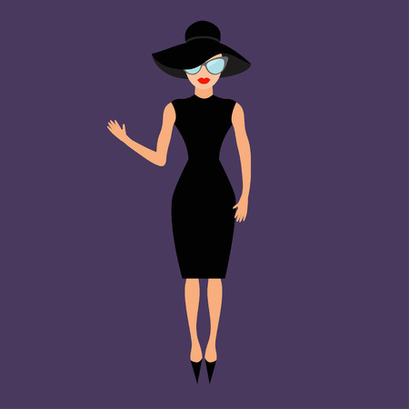 celebrities: Woman in black elegant hat and sunglasses waving. Rich and beautiful celebrity girl. Beauty fashion model face red lips People collection Cute cartoon character Flat Violet background Isolated Vector
