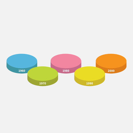 segment: Five step Timeline horizontal round colorful stage podium segment Infographic. Template. White background. Isolated. Flat design style. Vector illustration