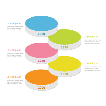 segment: Vertical timeline round colorful stage podium segment Infographic with text. Template. Flat design. White background. Isolated. Vector illustration