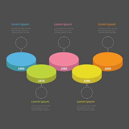 segment: Five step Timeline horizontal round colorful stage podium segment Infographic with empty dash line circles and text. Template. Flat design. Black background. Vector illustration Illustration