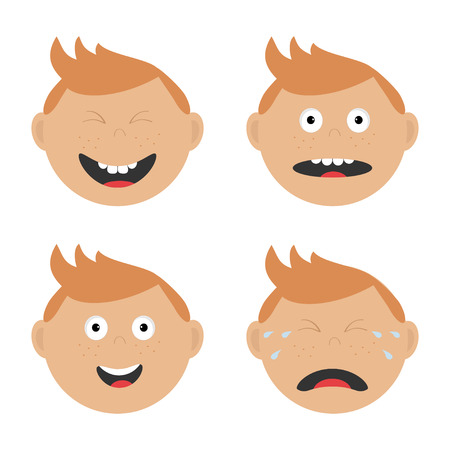 screaming head: Baby boy face set with different emotions. Crying, screaming, happy, smiling, surprised, laughing head, tears. Expression Cartoon character Abuse anger boy icon. White background Isolated Flat Vector