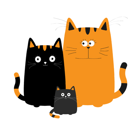 Cute cartoon cat family. Mother, father and baby boy kitten. Big mustache whisker. Funny character set. Happy family. Love greeting card. Flat design. White background. Isolated. Vector illustration