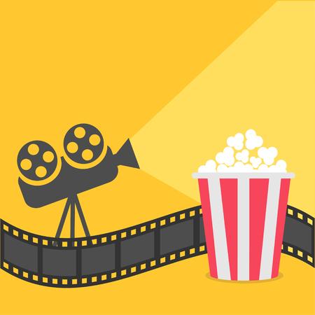 cartoon strip: Popcorn. Film strip border. Cinema projector with ray of light. Cinema movie night icon in flat design style. Yellow background.  Vector illustration
