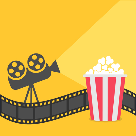 Popcorn. Film strip border. Cinema projector with ray of light. Cinema movie night icon in flat design style. Yellow background.  Vector illustration