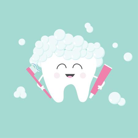 Diente sosteniendo la pasta de dientes y cepillo de dientes. Burbujas de la espuma. historieta divertida linda del carácter sonriendo. Niños dientes icono de atención. Oral salud dental diente higiene. Fondo del bebé Diseño plano Ilustración del vector