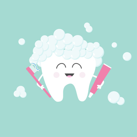 oral care: Tooth holding toothpaste and toothbrush. Bubbles foam. Cute funny cartoon smiling character. Children teeth care icon. Oral dental hygiene Tooth health. Baby background Flat design Vector illustration