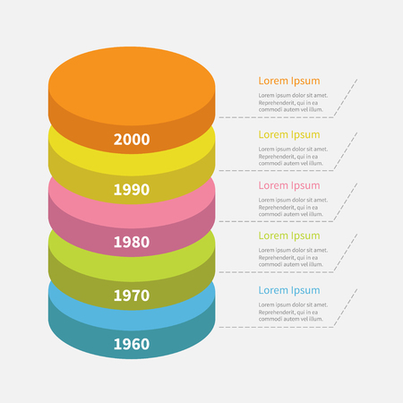 segment: Infographic with dash line and text. Timeline vertical round colorful segment stack. Template. Flat design. White background. Isolated. Vector illustration