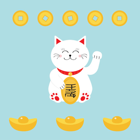 money cat: Lucky cat holding golden coin. Japanese Maneki Neco cat waving hand paw icon. Chinese gold Ingot money. Feng shui Success wealth symbol mascot. Cute character Greeting card Flat Blue background Vector Illustration