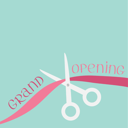 inaugural: Scissors cut the ribbon. Grand opening celebration. Business beginnings event. Launch startup concept. Flat design style. Vector illustration. Illustration