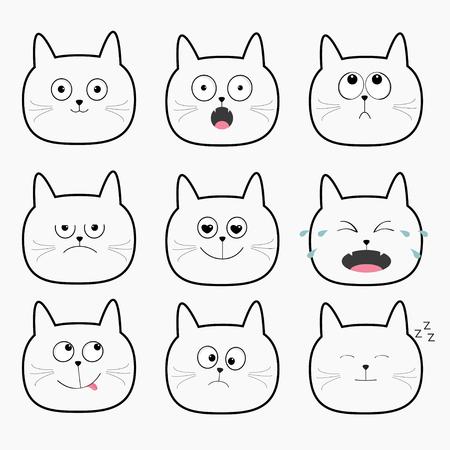 かわいい黒猫の頭を設定します。漫画文字別の感情面コレクション。式の顔アイコン。泣いている、幸せな、いびきをかく、怒っている子猫。猫の
